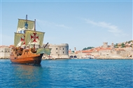 Dubrovnik | Croatia | Dubrovnik Island tour replica 16th century wooden galleon 6th century galleon ship Tirena  Dubrovnik island cruise Elaphiti Islands