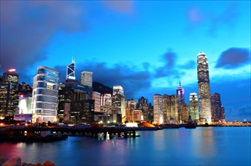 Hong Kong | China | night cruise of Aberdeen Harbour Jumbo Floating Restaurant sunset cruise night cruise Aberdeen Harbour Hong Kong skyline